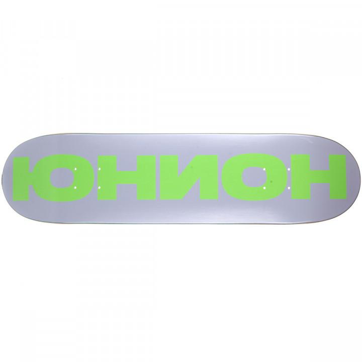 Дека для скейтборда Юнион Team серо-зелёная (grey/green) 31,75′′X8′′ (80.64 X 20.32 см) medium (+ шкурка)
