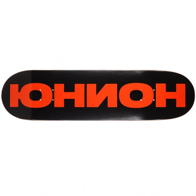 Дека для скейтборда Юнион Team чёрно-оранжевая (black/orange) 32,5′′X8,5′′ (82.55 X 21.59 см) high (+ шкурка)