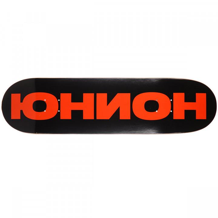 """Дека для скейтборда Юнион Team чёрно-оранжевая (black/orange) 32,5""""X8,5"""" (82.55 X 21.59 см) high (+ шкурка)"""