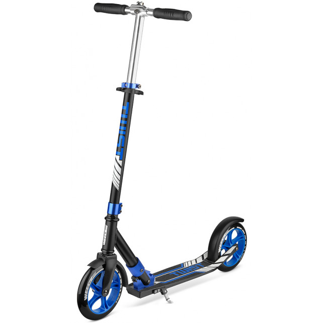 Городской самокат Weelz Twist New на больших колёсах 200 мм Black/blue для подростков и взрослых