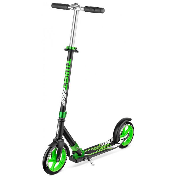 Городской самокат Weelz Twist New на больших колёсах 200 мм Black/green для подростков и взрослых