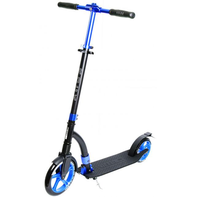 Городской самокат Weelz Rock New на больших колёсах 230 мм Black/blue для подростков и взрослых