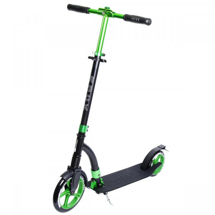 Городской самокат Weelz Rock New на больших колёсах 230 мм Black/green для подростков и взрослых
