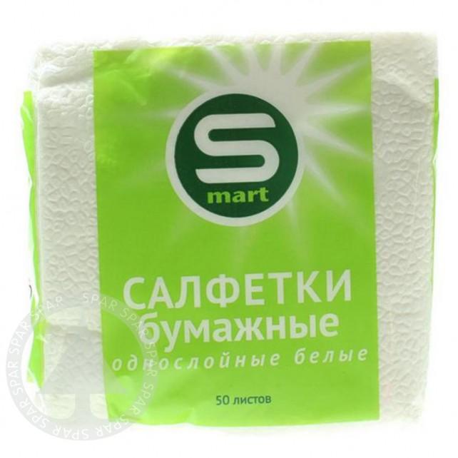 Салфетки бумажные однослойные белые 50 листов