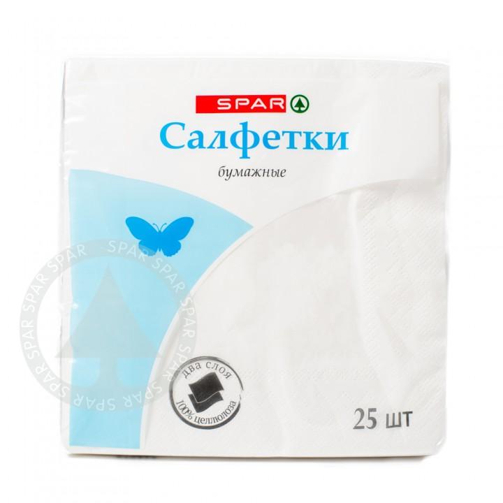 Салфетки бумажные 33*33 2 слоя 25 листов белые