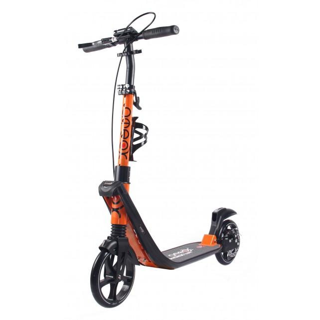 Городской самокат Ateox AVENUE LUX на больших колёсах 200 мм оранжевый для подростков и взрослых с ручным дисковым тормозом