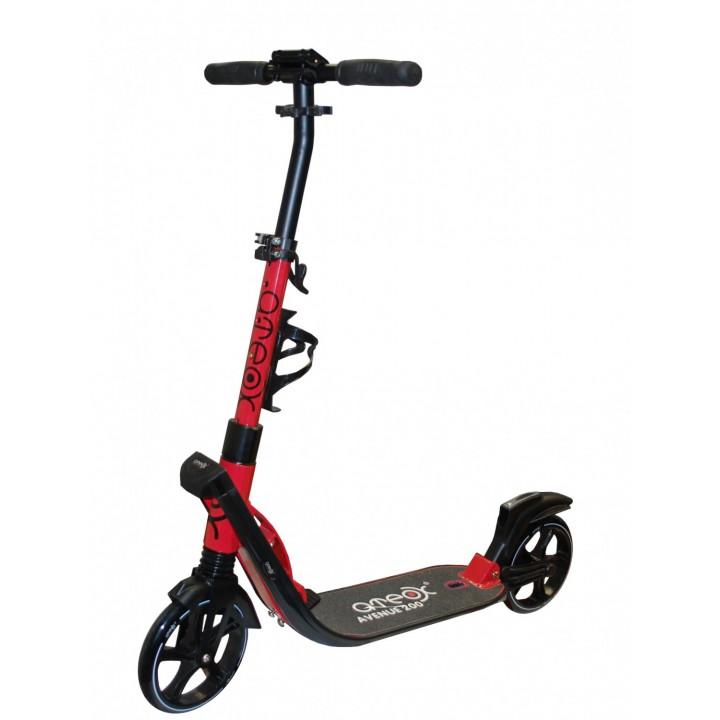 Городской самокат Ateox AVENUE на больших колёсах 200 мм красный для подростков и взрослых