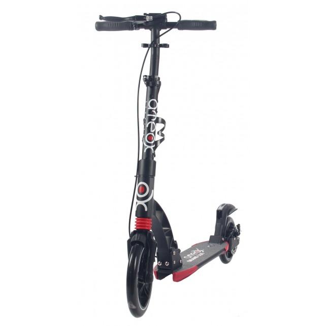 Городской самокат Ateox GRAND LUX на больших колёсах 230 мм чёрный для подростков и взрослых с ручным дисковым тормозом