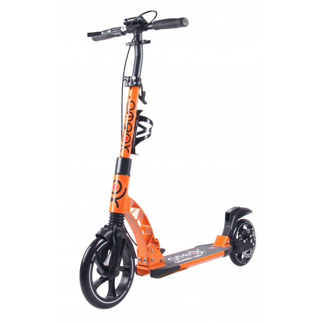 Городской самокат Ateox GRAND LUX на больших колёсах 230 мм оранжевый для подростков и взрослых с ручным дисковым тормозом