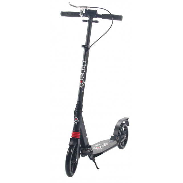 Городской самокат Ateox PRIME на больших колёсах 200 мм чёрный для подростков и взрослых с дисковым ручным тормозом