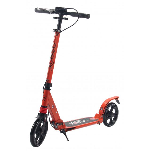 Городской самокат Ateox PRIME на больших колёсах 200 мм оранжевый для подростков и взрослых с дисковым ручным тормозом