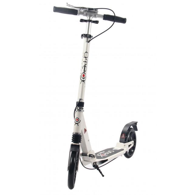 Городской самокат Ateox PRIME на больших колёсах 200 мм белый для подростков и взрослых с дисковым ручным тормозом