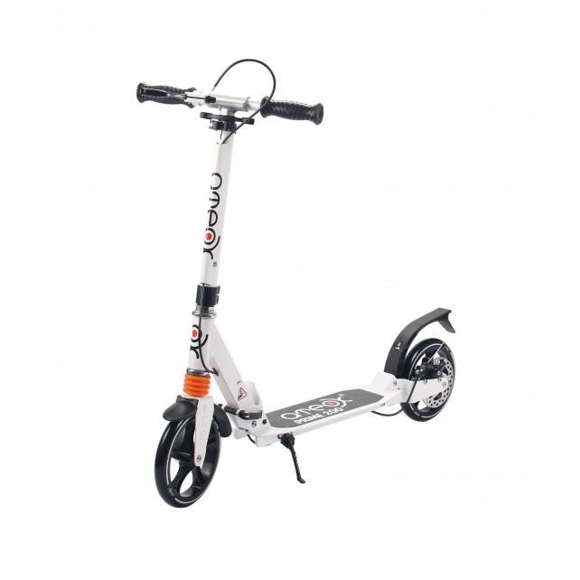 Городской самокат Ateox PRIME 200 на больших колёсах 200 мм белый для подростков и взрослых с дисковым ручным тормозом