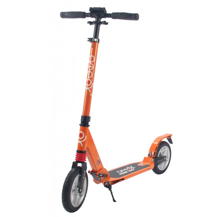 Городской самокат Ateox PRIME 300 на больших надувных колёсах 200 мм оранжевый для подростков и взрослых