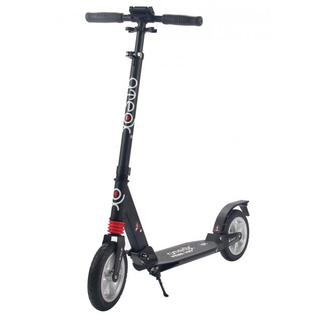 Городской самокат Ateox PRIME 300 на больших надувных колёсах 200 мм чёрный для подростков и взрослых