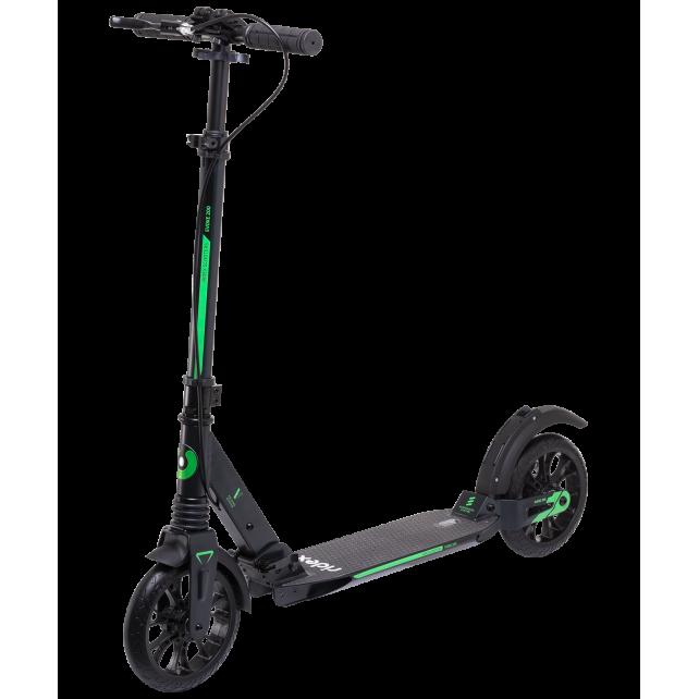 Городской самокат Ridex Evoke на больших колёсах 200 мм зелёный для подростков и взрослых с ручным тормозом