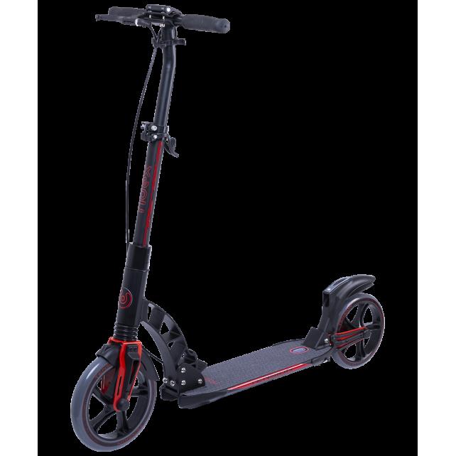 Городской самокат Ridex Tension на больших колёсах 230 мм красный для подростков и взрослых с ручным тормозом