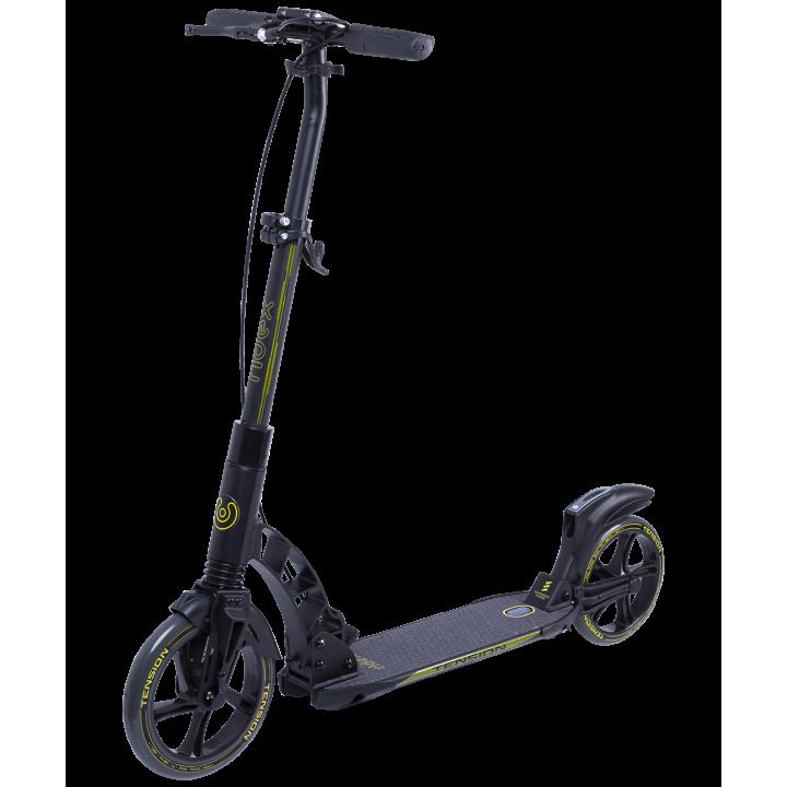 Городской самокат Ridex Tension на больших колёсах 230 мм жёлтый для подростков и взрослых с ручным тормозом