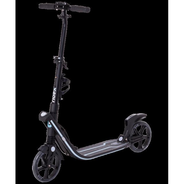 Городской самокат Ridex Exo на больших колёсах 200 мм чёрный для подростков и взрослых
