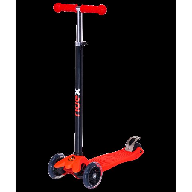Трёхколёсный самокат Ridex Snappy 3D детский красный со светящимися колёсами