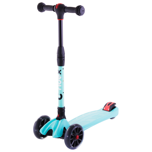 Трёхколёсный самокат Ridex Stark 3D детский мятный складной со светящимися колёсами