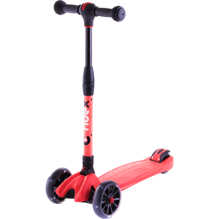 Трёхколёсный самокат Ridex Stark 3D детский красный складной со светящимися колёсами