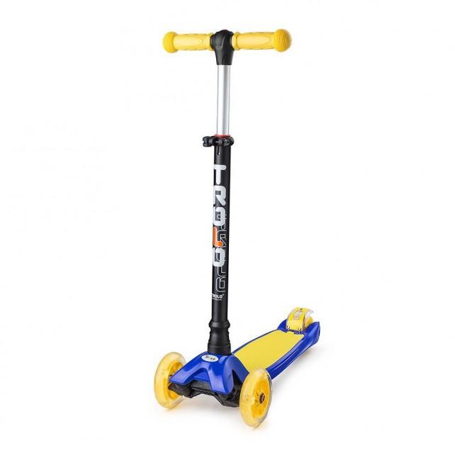 Трёхколёсный самокат Trolo Maxi детский синий/жёлтый со светящимися колёсами