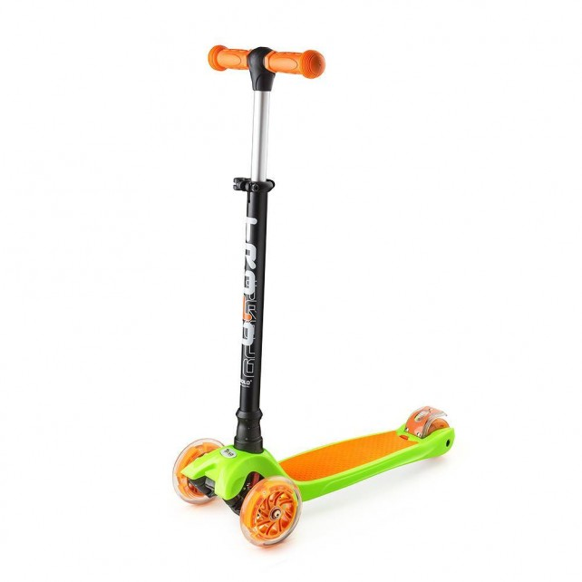 Трёхколёсный самокат Trolo Maxi детский салатовый/оранжевый со светящимися колёсами - уценка выставочный образец