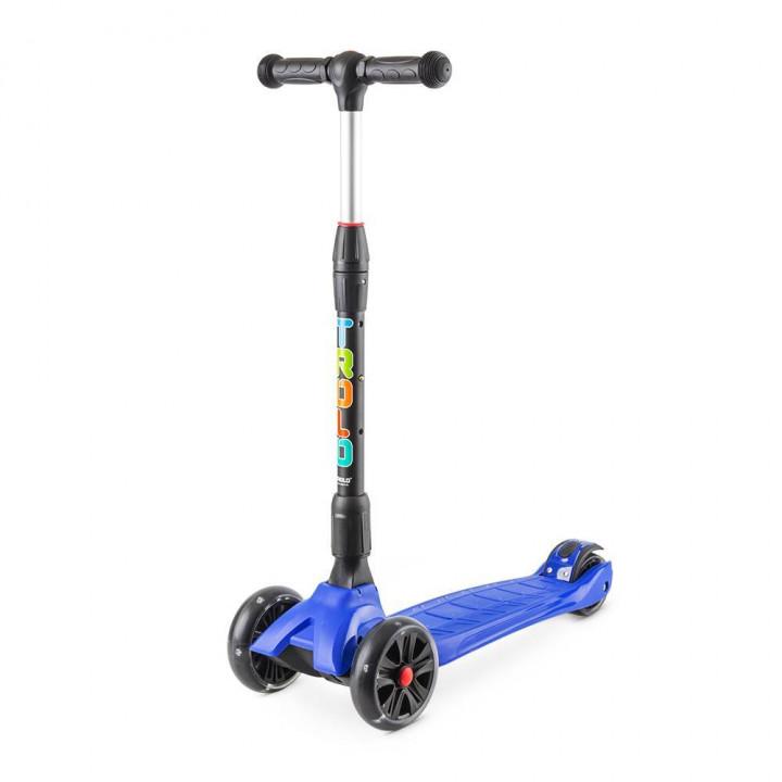 Трёхколёсный самокат Trolo Rapid детский тёмно-синий складной со светящимися колёсами