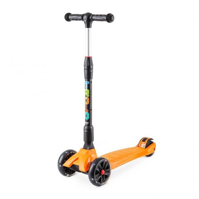 Трёхколёсный самокат Trolo Rapid детский оранжевый складной со светящимися колёсами