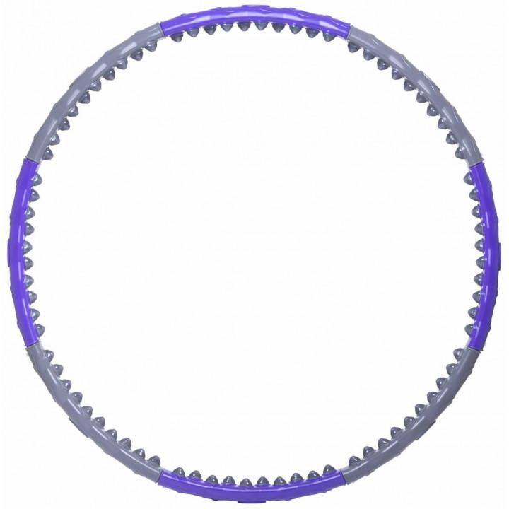 Обруч массажный STARFIT Core HH-107 разборный, двухрядный, серый/фиолетовый