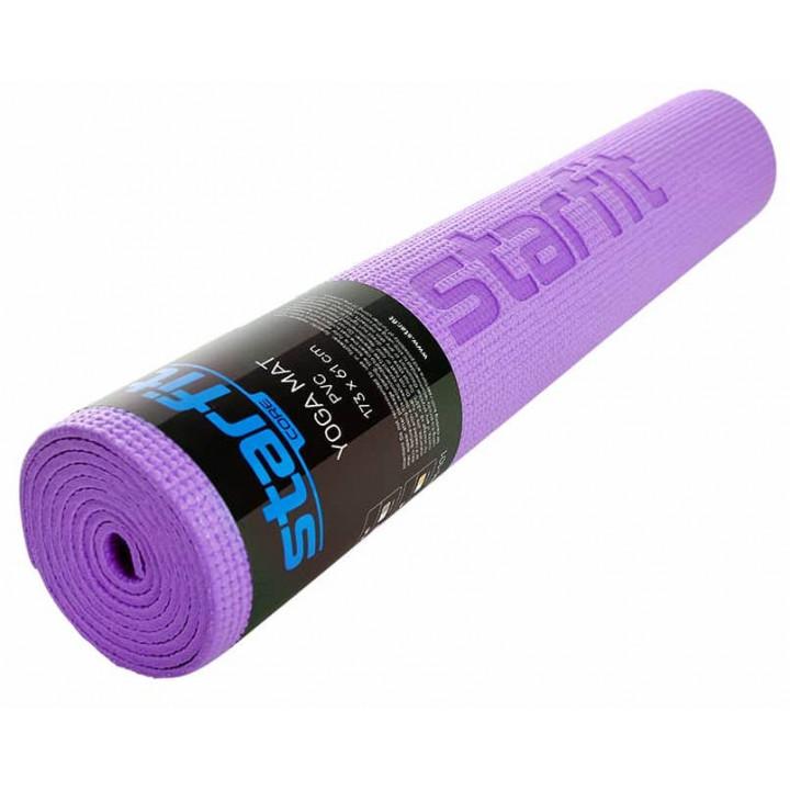 Коврик для йоги и фитнеса STARFIT Core FM-101 PVC, 0,3 см, 173x61 см, фиолетовый пастель