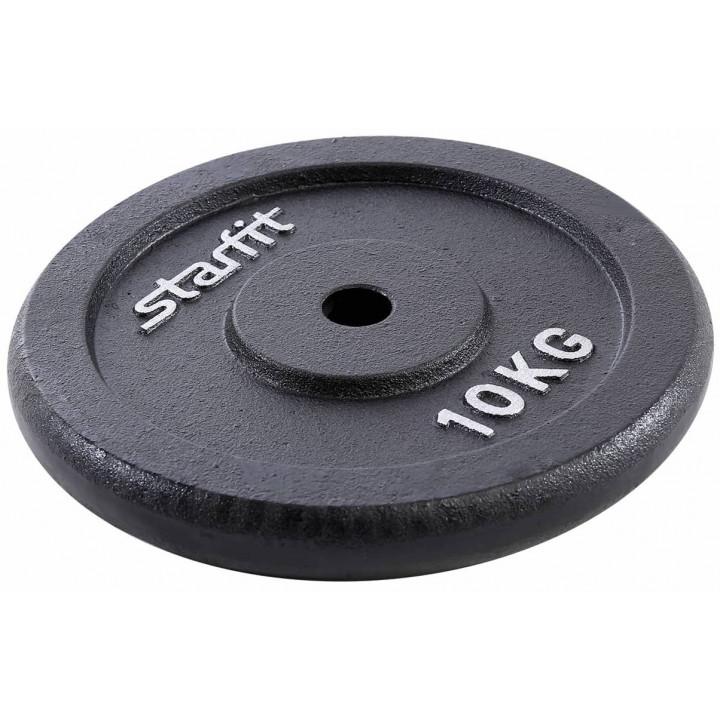 Диск чугунный STARFIT BB-204 10 кг, d=26 мм, черный